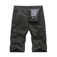 Mens Shorts De Bolso Homens Carga Shorts Na Altura Do Joelho Do Exército Masculino  Calças De 78aa8db78da36