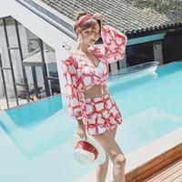 온천 3 피스 수영복 여성 보수 스플릿 스커트 섹시한 작은 가슴 모으기 얇은 비키니 수영복