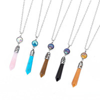 prisme mode Hexagonal pierre naturelle Drusy Druzy Colliers 5 couleurs sirène Échelle Pendentif collier pour femmes Lady Bijoux