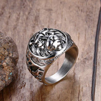 Mens Vintage Rings Stainless Steel Lion Head Rings in Silver...