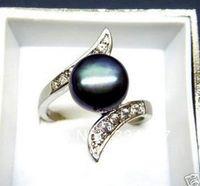 Black Akoya Cultured pearl Bead ring