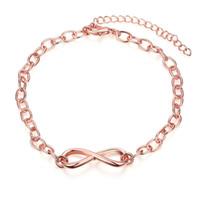 Vendita calda moda creatività Digital 8 oro rosa placcato braccialetto Elegante bracciali oro Fascino catena mano all'ingrosso