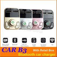 CAR B3 다기능 블루투스 송신기 2.1A 듀얼 USB 차량용 충전기 FM MP3 플레이어 차량용 키트 지원 TF 카드 핸즈프리 + 소매 상자 저렴한