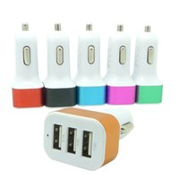 Durable Universal 4.1A 12V 3 colorido puerto USB Adaptador de cargador de coche para iPhone X 8 Plus 8 7 Plus 7 6S 6 Samsung S9 S8 teléfono inteligente 500 unids / lote