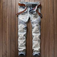 Vintage lavado moda jeans homens Slim reta Jean calças rasgadas destruídas calças compridas