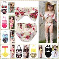 Bebek Mayolar Kız Çiçek Bikini Set Çocuklar Sevimli Mayo Çocuk Yay Çizgili Bankini Bebek Moda Yaz Mayo Beachwear wqq1