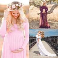 Vestiti di maternità Donne incinte Abito lungo maxi abito Puntelli di foto Aspettante Abito da barca maternità manica lunga abito abito da sera