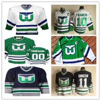 Custom Vintage Hartford Whalers Hockey Jerseys Cualquiera Número 20 Sebastian AHO 49 Victor Rask 86 Teuvo Teravainen 27 Faulk 74 Slavin