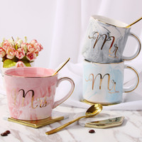 Ceramic Marbling Gilded Mug with Gold Spoon Mr Mrs Coffee Cu...