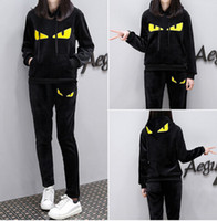 Women Velvet Clothing Sets Fashion Monster Tracksuits Sports...