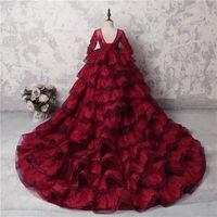 놀라운 다층 소녀 미인 대회 가운 어두운 붉은 레이스 긴 소매 Appliques 비즈 결혼식을위한 꽃 파는 소녀 드레스 긴 기차 파티 드레스