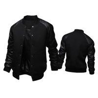Nouvelle Tendance Noir College Baseball Jacket Men / Homme Boy Veste Casual Pu cuir à manches Sweat Hommes Vestes Varsity pour l'automne