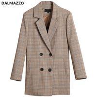 여성 트렌치 코트 Dalmazzo 2021 가을 빈티지 격자 무늬 롱 블레이저 더블 브레스트 슬리브 정장 자켓 코트 여자 캐주얼 outwear mujer