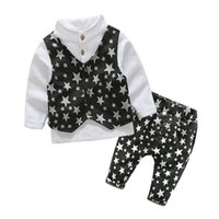 2018 boy clothes suit gentleman suits 3pcs star vest + T shi...