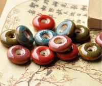 30 PC 21 mm, tamaño de orificio de aproximadamente 5 mm Granos de la porcelana, color mezclado, de cerámica DIY perlas sueltas de joyería hallazgo