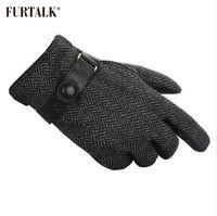 FURTALK الرجال الشتاء ريال لامب قفازات جلدية الأزياء مع قفازات الكشمير الدافئة بطانة التكتيكية