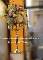 Candelero de plata del metal / 5 brazos centro de mesa de los candelabros para la decoración de la boda