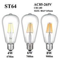 E27 E26 LED Filament Bulb 4W 6W 8W 110V 220V 240V ST64 Clear...