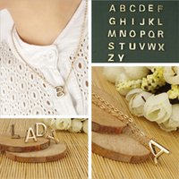 Tiny Gold Necklace Initial 26pcs Gold letter Necklaces& Pend...