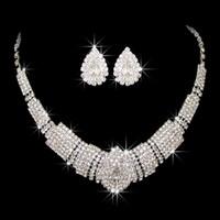 Amandabridal 3 Renkler Ucuz Gümüş Kristal Elmas Gelin Takı Setleri Küpe Ile Kolye Düğün Aksesuarları Için 2019