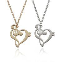 Модные музыка Примечание сердце ожерелье золото серебро сердце кулон ожерелья популярные ювелирные изделия творческий любовь музыка перерывы аксессуары