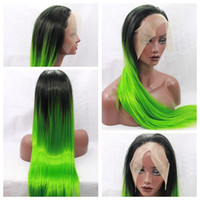 Charming Cosplay Sexy Ombre Green Long Silky Straight Lace F...