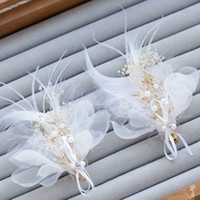 Clip Copricapo Wedding fascia della piuma Shape Wedding dei capelli accessori nuziali dei capelli Barrettes perla capa decorazione dei capelli