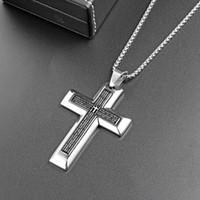 Мужские синие черные двойные библейские крест из нержавеющей стали ожерелье молитвенные подвески мода ювелирные изделия мужчины Ожерелья для подарков