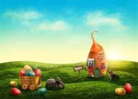 Happy Easter Fairyland Baby bambini Fondali Fotografia Stampato Colorful Eggs Rabbits Big Egg House Green Grassland Spring Photo Background