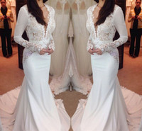 2019 New Fashion Long Sleeve Mermaid Wedding Dresses Lace Dr...