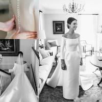 3267075673 Vestido de boda de manga larga de la vendimia 2018 Bateau Backless vaina  barrido tren satinado