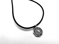 1 шт. Античное серебро простой тайцзи багуа карта фэн-шуй кулон ожерелье китайский стиль фантастический ин ян тай чи сплетни кожаные ожерелья