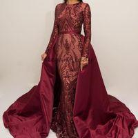 Burgundy Lace Sequins Evening Formal Dresses with Long Sleeve 2018 Abaya Kaftan Arabic Hijab Jewel Mermaid Prom Dress with Detachable Train