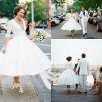 старинные длина чая 50 с короткими свадебными платьями с рукавами V шеи сексуальные старинные 1950-х годов неофициальные страны сад бохо прием свадебные платья