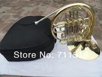 Doble hilera 4 llave rayada Cuerno francés F Bb llave raya francesa chapado en oro con caja de nylon Instrumento de viento de bronce con caja de la boca