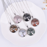 Natural Stone Tree of Life Necklaces Pink Quartz White Cryst...
