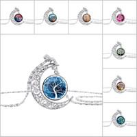 Vintage-Schmuck mit versilbertem Lebensbaum Crescent Moon Shaped Glass Choker Lange Halskette für Frauen