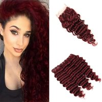 Malaysian Burgundy Virgin Hair Bundles with Lace Closure Win...