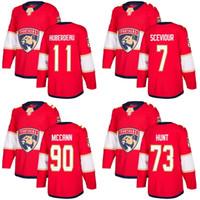 2018 남자 플로리다 표범 팬츠 73 Dryden Hunt 11 Jonathan Huberdeau 7 Colton Sceviour Jared McCann Red Custom Hockey Jerseys