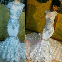 Beaded Lace Appliques 2018 Prom Dresses Mermaid Flowers Slee...