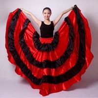 2016 여자 롱 라틴 치마 볼룸 댄스 어른 용 Red Balck Flamenco Dress 여성용 살사 / 탱고 / 스페인 / 배꼽 댄스 의상