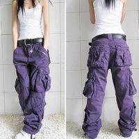 Mujeres Pantalones Cargo moda de gran tamaño de las mujeres suelta Multi-bolsillo de algodón Pantalones holgados de otoño del resorte pantalones de las mujeres de Hip Hop