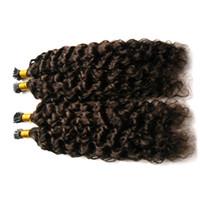 Ich spitzes lockiges vor-gebundenes Menschenhaar bündelt peruanische Haar-Verlängerung 10-26Inch natürliche Farbe 100% Remy Haar-freies Verschiffen