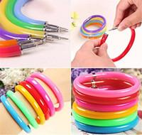 10 Pcs/lot Flexible Ball Pens Cute Soft Plastic Bangle Bracelet Wristlet Circlet Ballpoint Pens School Office Supplies