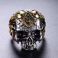316 нержавеющая сталь серебро золото два тона мужской череп головы масонский перстень AG эмблема панк готический человек масон скелет кольца ювелирные изделия