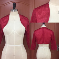 Elegant Burgundy Lace Birdal Jacket with 3   4 Length Sleeve...