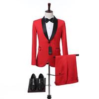 Two Piece Red Hochzeit Männer Anzüge 2018 Schwarz Schal Revers Slim Fit Hochzeit Smoking Foviva Stil 09001