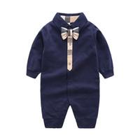 İlkbahar sonbahar erkek bebek tulum yenidoğan bebek kız giysileri Ekose yay tiny cottons bebek romper erkek kız tulum 0-24 ay için X026