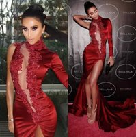 Dark Red Sexy One Sleeves High Neck Mermaid Prom Dresses wit...