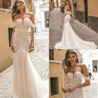 2019 Berta Wedding Dresses Off The Shoulder Luxury Feather C...